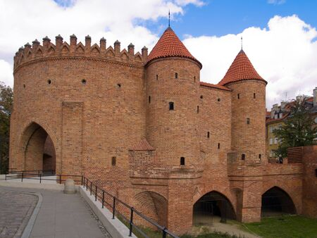 outpost: old brick fort Barbakan in Warsaw, Poland Stock Photo