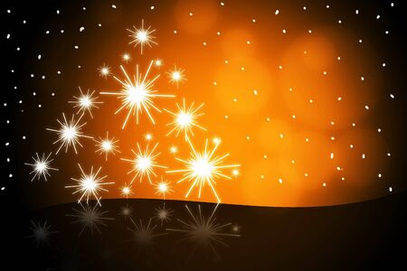 New year tree on orange background illustration illustration
