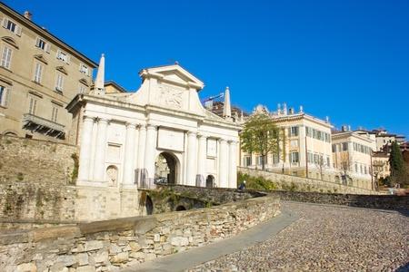 san giacomo: road to city gate Porta San Giacomo, Bergamo, Italy