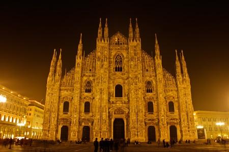 Duomo (katedrális) Milánó éjjel, Olaszország