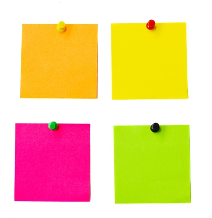 post it note: multicolored paper stickers isolated on white background