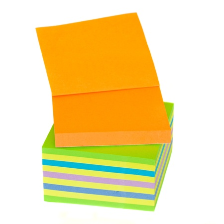 stack of multicolored paper stickers isolated on white background Stock Photo - 11430125