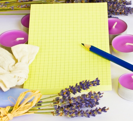 blank yellow notepad with romantic lavender frame photo