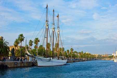 embarked: embarked tall ship at Port Vell in Barcelona, Spain.  Stock Photo