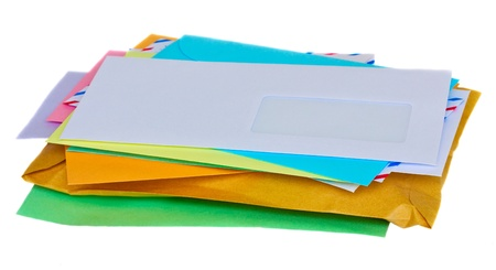 pile of mail isolated on white background photo
