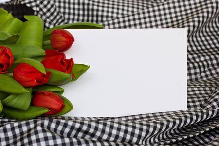 Red tulips with pearls strand and blank card photo