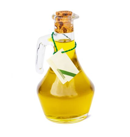 bottle of oil with empty label isolated on white background Stock Photo - 12055241