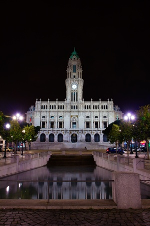 city hall of Porto at night, Portugal  photo