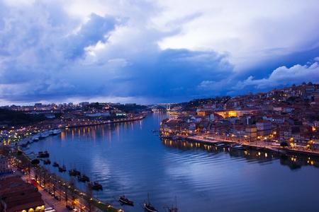 gaya: panorama of Porto and villa nova di Gaya, Portugal at sunset