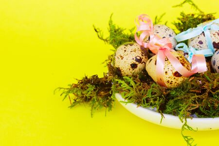 decorated easter eggs in green nest on yellow background