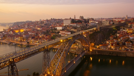 old town of Porto on sunset, Portugal photo