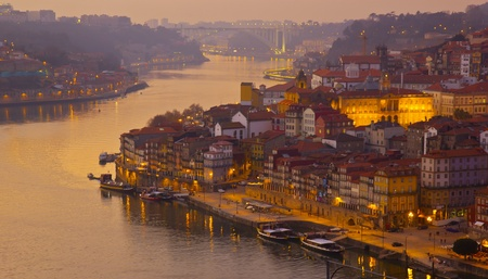beautiful panorama of Ribeira and Douro river Porto at sunset, Portugal Stock Photo - 12406870
