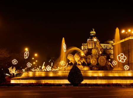 Plaza de la Cibeles (square of Cibela) at night, Madrid, Spain  photo
