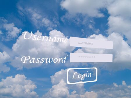 password protection: cloud computing security concept Stock Photo