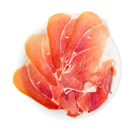 cured: Plate of cured ham Stock Photo