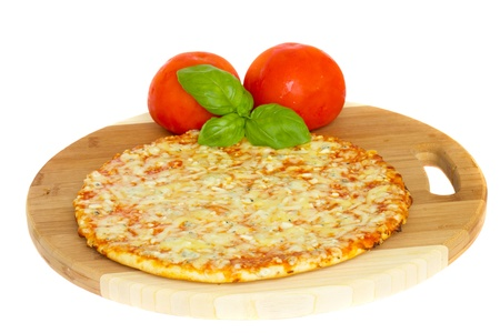 pizaa quatrro fromaggi (four cheese) with fresh tomatoes Stock Photo - 12707022