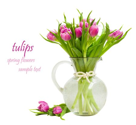 bouquet of purple tulips isolated on white background  photo