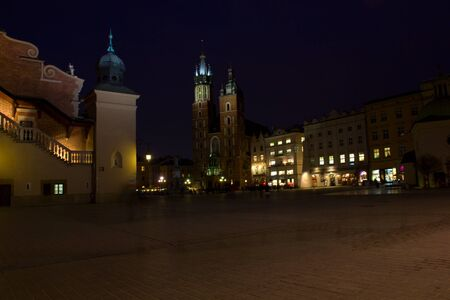 old  Krakow market square at night, Poland Stock Photo - 12707197