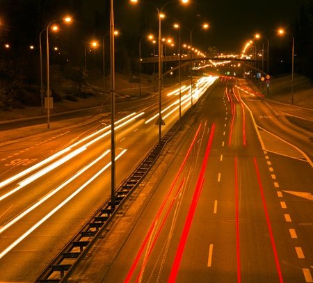 night city road with traffic blured lights, Warsaw, Poland Stock Photo - 12950222