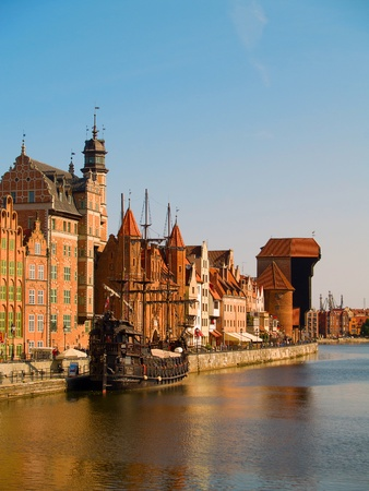 Old town on bank of Motlawa river , Gdansk, Poland