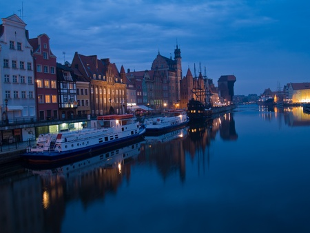 night scene of quay of Motlawa, Gdansk, Poland photo