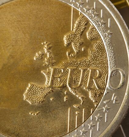 euro coin macro detail with map of Europe photo