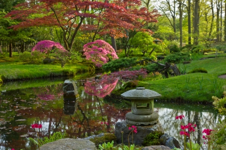 zen water: Japanese garden in spring, Den Haag, Holland Stock Photo