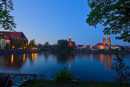 Night scene of island Tumski in Wroclaw, Poland photo