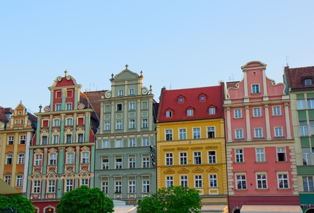 polska monument: facade of old houses of Wroclaw, Poland Stock Photo