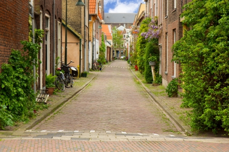 colorful street in old town  of Delft, Holland Stock Photo