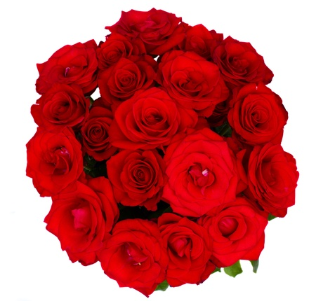 round bouquet of red roses isolated on white background photo