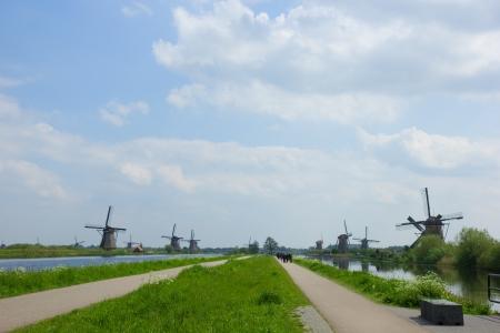 dutch windmills on river bank, Kinderdijk, Holland photo