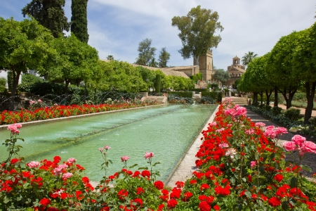 Gardens at the Alcazar de los Reyes Cristianos in Cordoba, Spain