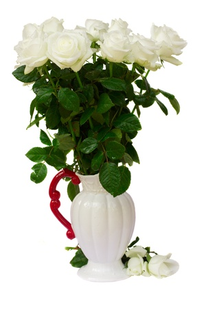 bouquet of white roses in vase  isolated on white background photo