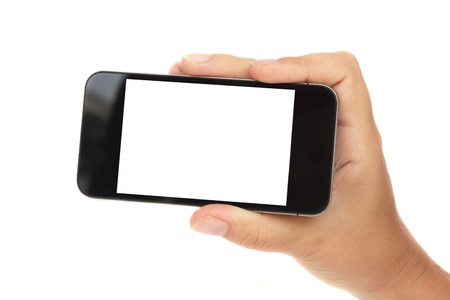 portable information device: hand holding a modern smartphone isolated on white background with copy space