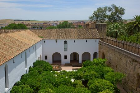 Yard of the Palace Fortress of the Christian Kings  Alcazar de los Reyes Cristianos , Cordoba, Cordoba Province, Andalusia, Spain Stock Photo - 14296359