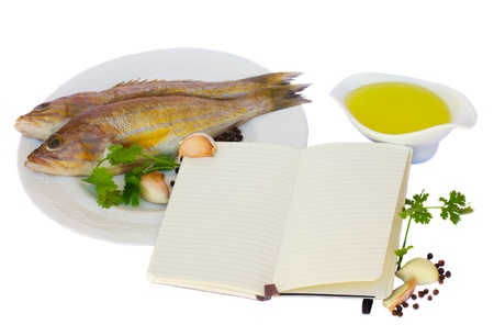 raw fish with ingridients of cooking and notebook for recipes isolated on white background photo