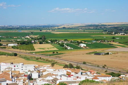 landscape with fields and roads of Andalusia, Spain photo