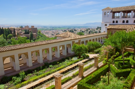 Generalife palace garden and city of Granada, Andalusia, Spain
