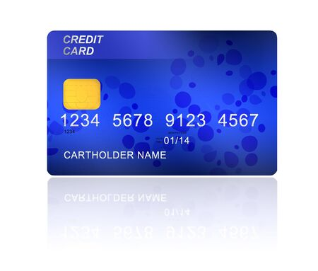 blue credit card isolated on white background photo