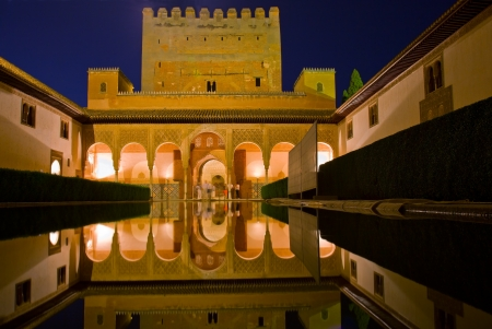 alhambra: Patio de los Arrayanes  Court of the Myrtles  in La Alhambra at night, Granada, Spain Editorial