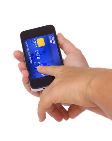 hands holding phone with credit card on display isolated on white background photo