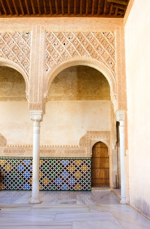 Details of patio de los Arrayanes  Court of the Myrtles  in Alhambra, Granada, Spain