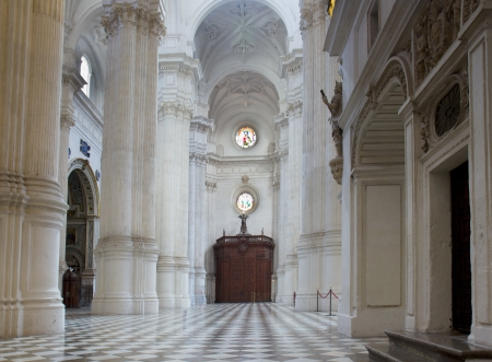 white interior of Cathedral church,  Granada , Spain