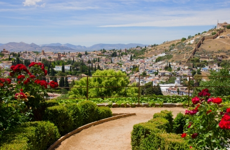 Generalife  gardens and city of Granada, Andalusia, Spain photo