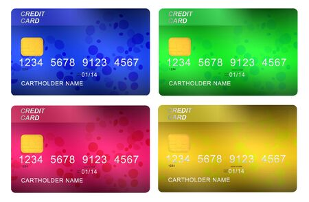 multicolored credit cards isolated on white background photo