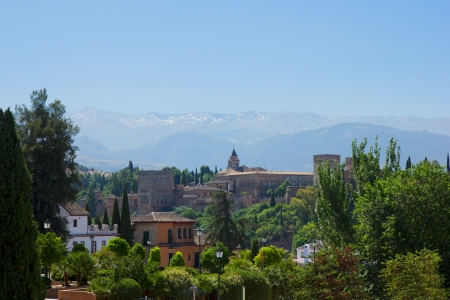 fortress  of Alhambra and Sierra Nevada mountains, Granada, Spain photo