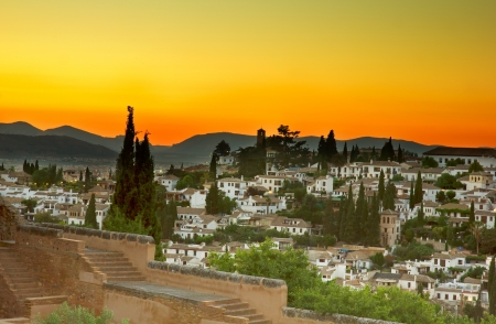 old arab district Albaycin  in Granada at sunset, Spain photo