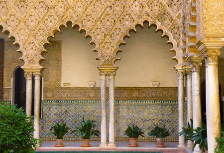 alcazar: Real Alcazar  royal palace , patio del Crucero, Sevilla, Spain Editorial