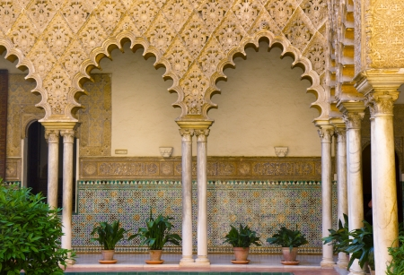 sevilla: Real Alcazar  royal palace , patio del Crucero, Sevilla, Spain Editorial